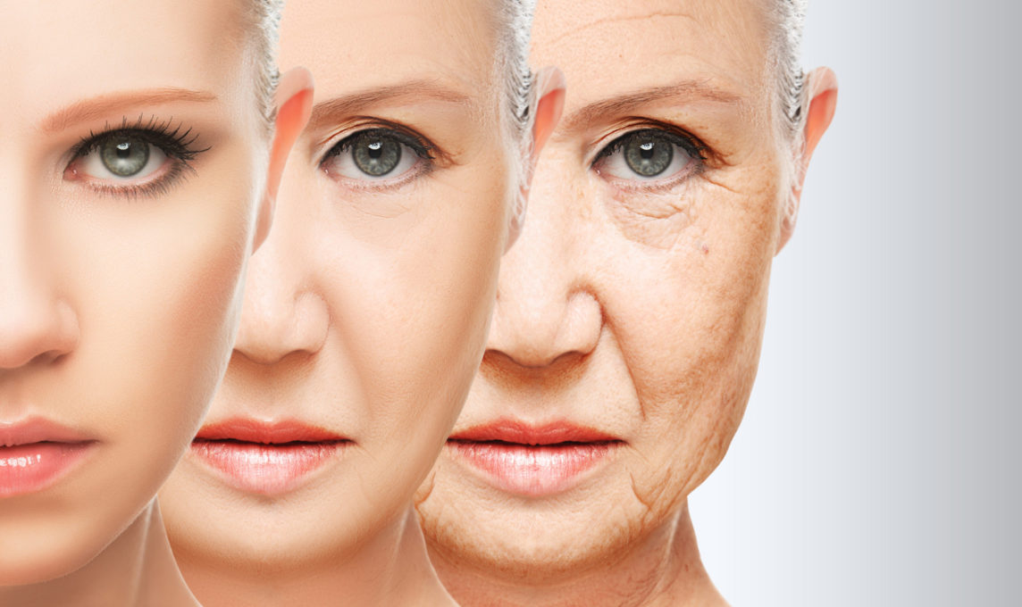 Photo of younger skin gradually aging