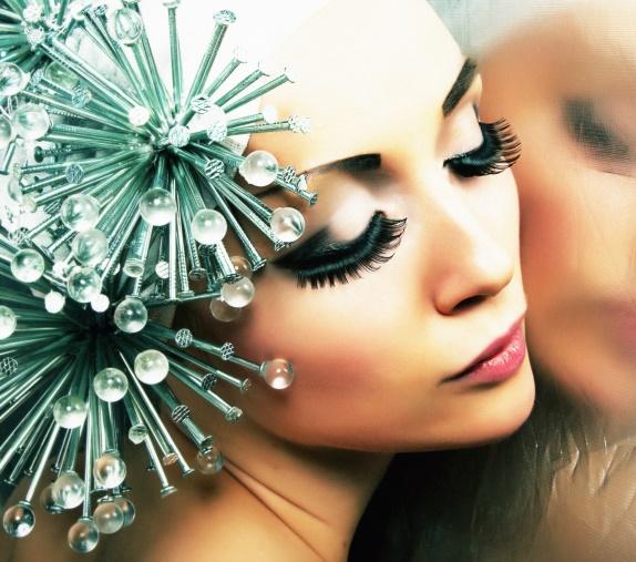 woman wearing starlike headband face